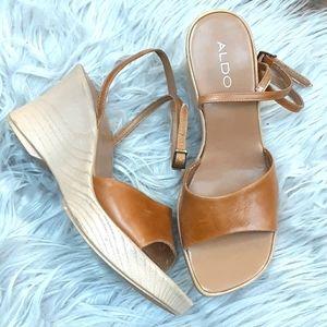 Aldo Square Toe Wedge Sandals